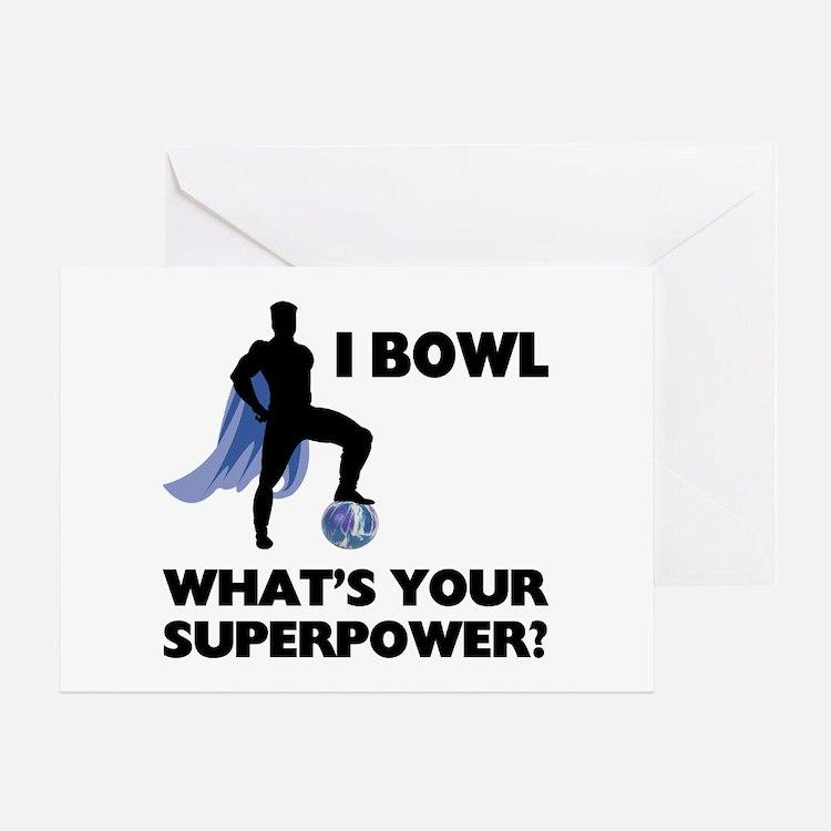 Bowling Superhero Greeting Card