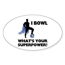 Bowling Superhero Sticker (Oval)