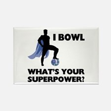 Bowling Superhero Rectangle Magnet