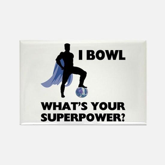 Bowling Superhero Rectangle Magnet