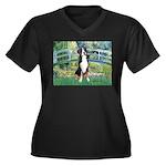 Bridge / GSMD Women's Plus Size V-Neck Dark T-Shir