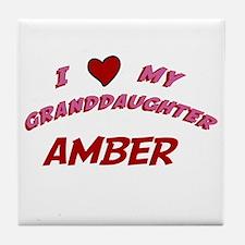 I Love My Granddaughter Amber Tile Coaster