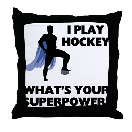 Hockey Superpower Throw Pillow