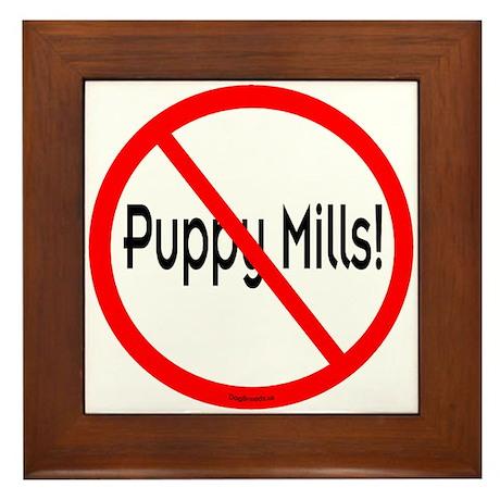 No Puppy Mills Framed Tile