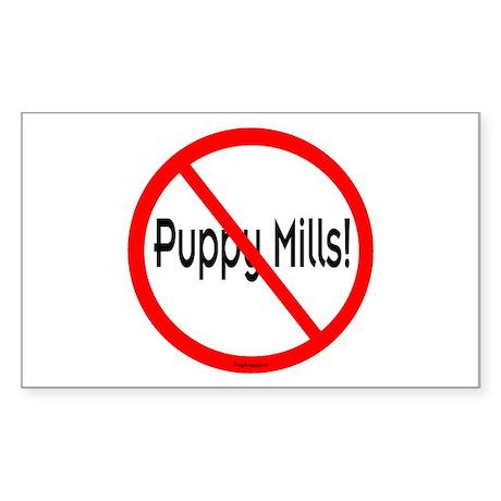No Puppy Mills Rectangle Sticker