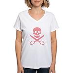 Pink Jolly Cropper Women's V-Neck T-Shirt