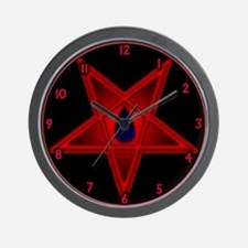 Black Flame Red Pentagram Wall Clock