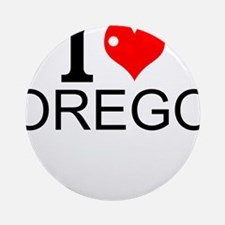 I Love Oregon Round Ornament