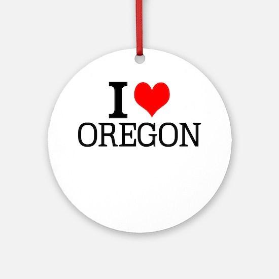 I Love Oregon Round Ornament