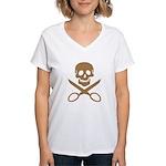 Mocha Jolly Cropper Women's V-Neck T-Shirt