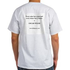 two-sided men's tee with Wilde quote & portrait