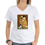 Kiss / Fox Terrier Women's V-Neck T-Shirt
