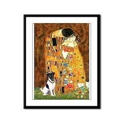 Kiss / Fox Terrier Framed Panel Print