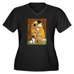 Kiss / Fox Terrier Women's Plus Size V-Neck Dark T