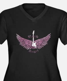 Rock Angel Women's Plus Size V-Neck Dark T-Shirt