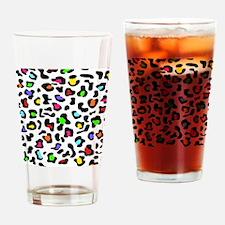Rainbow Leopard Print Drinking Glass