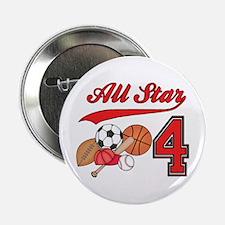 "AllStar Sports 4th Birthday 2.25"" Button (10 pack)"