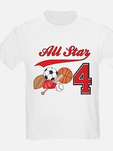AllStar Sports 4th Birthday T-Shirt