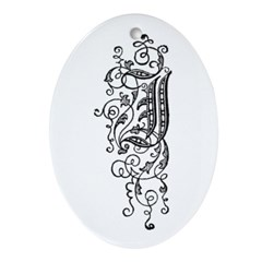 Letter J Oval Ornament