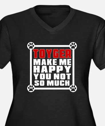 Toyger Cat M Women's Plus Size V-Neck Dark T-Shirt