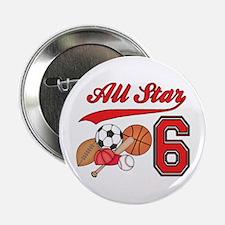 "AllStar Sports 6th Birthday 2.25"" Button (10 pack)"