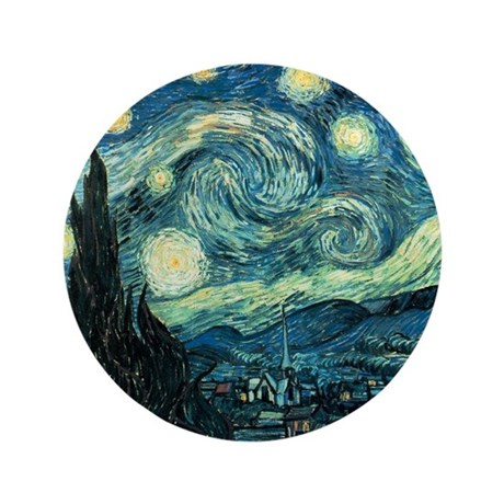 "Vincent van Gogh's Starry Night 3.5"" Button"