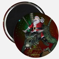Funny Santa Claus flying with a dragon Magnets