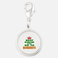 Keep calm and go to Djibouti Silver Round Charm