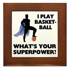 Basketball Superhero Framed Tile