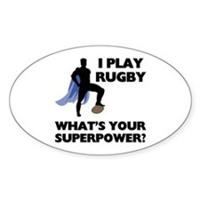 Rugby Superhero Oval Sticker