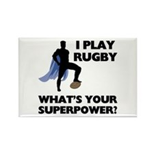 Rugby Superhero Rectangle Magnet