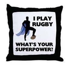 Rugby Superhero Throw Pillow