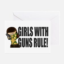 Girls With Guns Rule Greeting Card