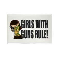 Girls With Guns Rule Rectangle Magnet