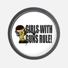 Girls With Guns Rule Wall Clock