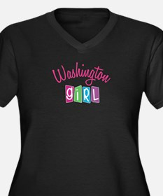 WASHINGTON GIRL! Women's Plus Size V-Neck Dark T-S