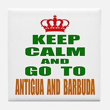 Keep calm and go to Antigua and Barbu Tile Coaster