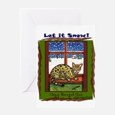 Bengal Cat Art Seasonal Holiday Greeting Card