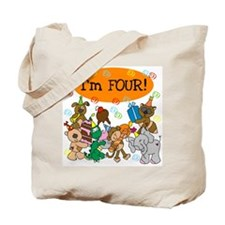 Party Animals 4th Birthday Tote Bag