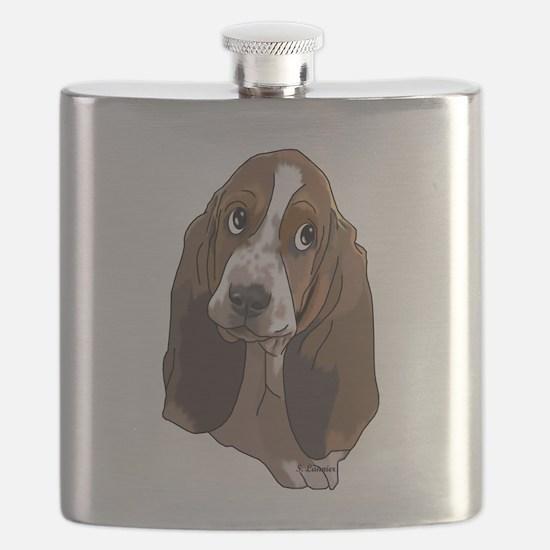 Cute Basset Hound Pup Art Print Flask