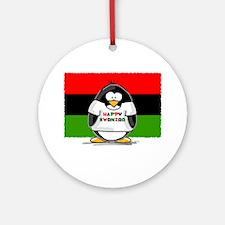 Happy Kwanzaa Penguin Ornament (Round)