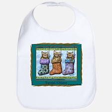 holiday Bengal Kittens Bib