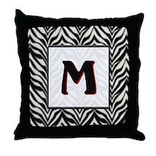 Zebra Monogram M Throw Pillow