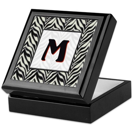 Zebra Monogram M Keepsake Box