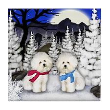 BICHON FRISE DOGS WINTER MOON Tile Coaster