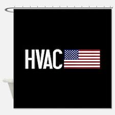 HVAC: HVAC & American Flag Shower Curtain