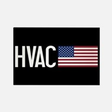 HVAC: HVAC & American Flag Rectangle Magnet
