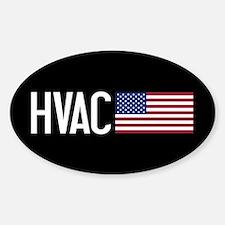 HVAC: HVAC & American Flag Sticker (Oval)