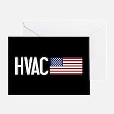 HVAC: HVAC & American Flag Greeting Card