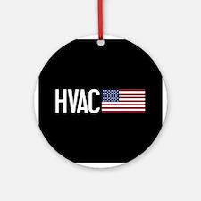 HVAC: HVAC & American Flag Round Ornament